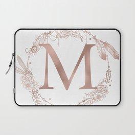 Letter M Rose Gold Pink Initial Monogram Laptop Sleeve