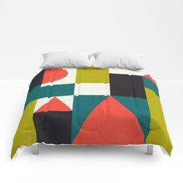 Mid-century block pattern Comforters