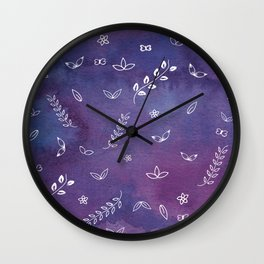 Purple Violet Watercolor Floral Cute Illustration Art Wall Clock