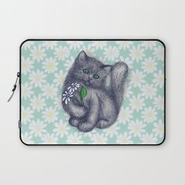 Cute Kitten with Daisies Laptop Sleeve