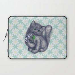 Cute Kitten with Daisies Laptop Sleeve