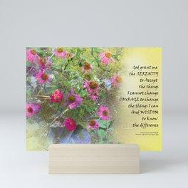 Serenity Prayer Pink Flowers on Yellow Mini Art Print