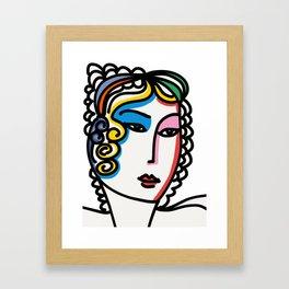 Minimal Portrait of a Rainbow Girl  Framed Art Print