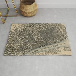 Vintage Map of Detroit Michigan (1904) Rug