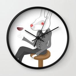 White Bunny Thinking Wall Clock