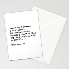 Every Day I Awaken I Am Grateful, Maya Angelou, Inspirational Quote Stationery Cards