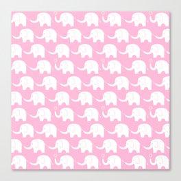 Elephant Parade on Pink Canvas Print