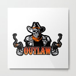 Cowboy Skull With Revolver Metal Print