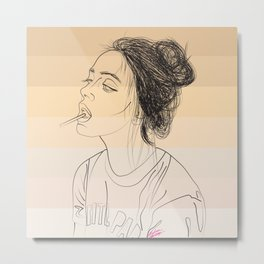 Simple Skintones Drawing of Woman Sucking Lollipop Metal Print