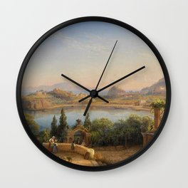 Port of Ischia, Italy by Eduard Agricola Wall Clock