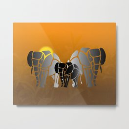 African elephants in sunrise Metal Print