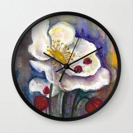 Lady Birds, Strawberry Flowers Wall Clock