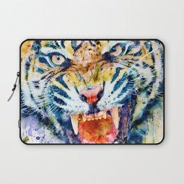 Angry Tiger Watercolor Close-up Laptop Sleeve