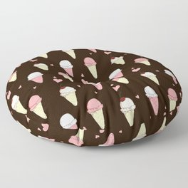 Cute ice cream pattern with small hearts Floor Pillow