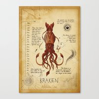 kraken Canvas Prints featuring Kraken by Laurence Andrew Page Illustrator