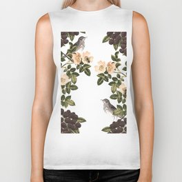 Blackberry Spring Garden - Birds and Bees Cream Flowers Biker Tank