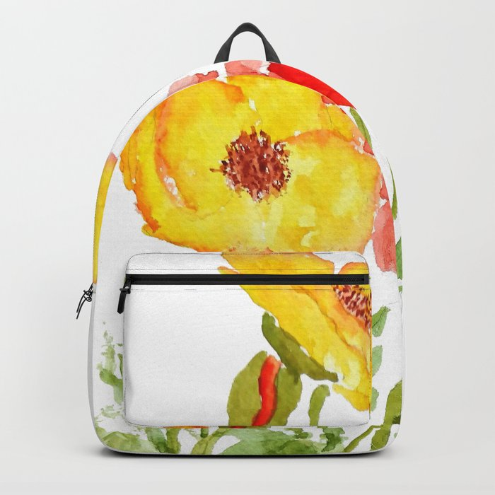 red and yellow  poppies Backpack