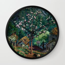 Apple Tree and Daffodils in Bloom alpine landscape painting by Nikolai Astrup Wall Clock