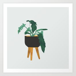 mid century modern house plant boho pot stand Art Print
