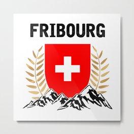 Fribourg Swiss Flag TShirt Swiss Alps Shirt Switzerland Gift Idea  Metal Print