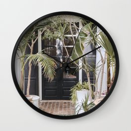 Tropical Front Door Entry In Marrakech Photo   Pastel Tones Art Print   Morocco Travel Photography Wall Clock