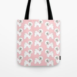 Bichon Frise pink bows christmas holiday themed pattern print pet friendly dog breed gifts Tote Bag