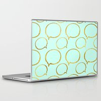 gold foil Laptop & iPad Skins featuring Mint Gold Foil 01 by Aloke Design