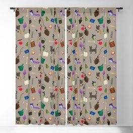 Assorted Witchery Repeating Pattern Tan Blackout Curtain