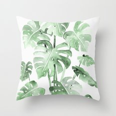 Delicate Monstera Green #society6 Throw Pillow