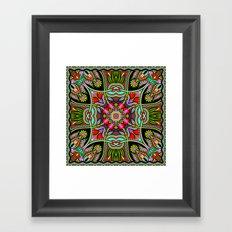 Green Boho Fantasy Pattern Framed Art Print