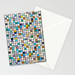 Multicolor Tiles Square Geometric Mosaic Pattern Stationery Cards