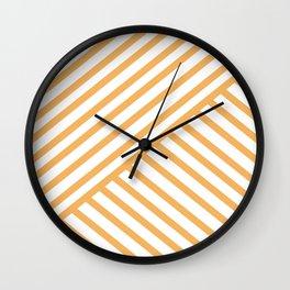 Crossing Lines - Orange Wall Clock