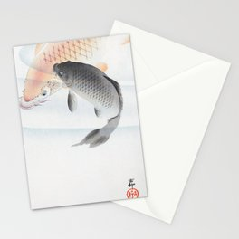 Old Vintage Red And Grey Koi In Water Illustration Stationery Cards