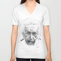 einstein V-neck T-shirts featuring Einstein by Les Joanneries & Jacques Lajeunesse
