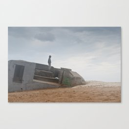 World war bunker ocean Canvas Print