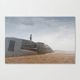 World war bunker ocean Canvas Print