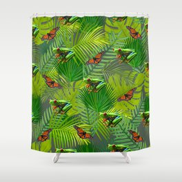 Frogs and Monarchs Shower Curtain