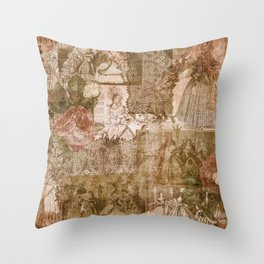 Vintage & Shabby Chic - Victorian ladies pattern Throw Pillow