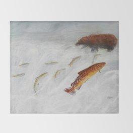 La remontée du saumon Throw Blanket