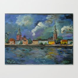 A Night of Color in Riga Canvas Print