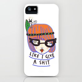 like i give a shit there's a naked rabbit on my head iPhone Case
