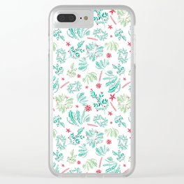 Red and Green Christmas leaves patterm Clear iPhone Case