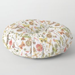 Moths on Ivory Wildflowers Floor Pillow