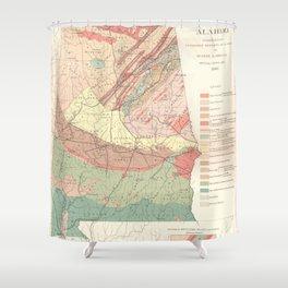 Vintage Agricultural Map of Alabama (1882) Shower Curtain