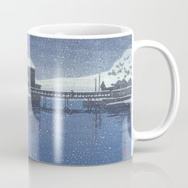 Snow At Port Of Ebisu, Sado Island By Hasui Kawase - Vintage Japanese Woodblock Print Art Coffee Mug