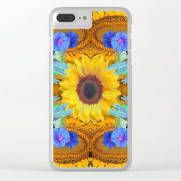 YELLOW SUNFLOWERS  DRAGONFLIES FLORAL ABSTRACT Clear iPhone Case