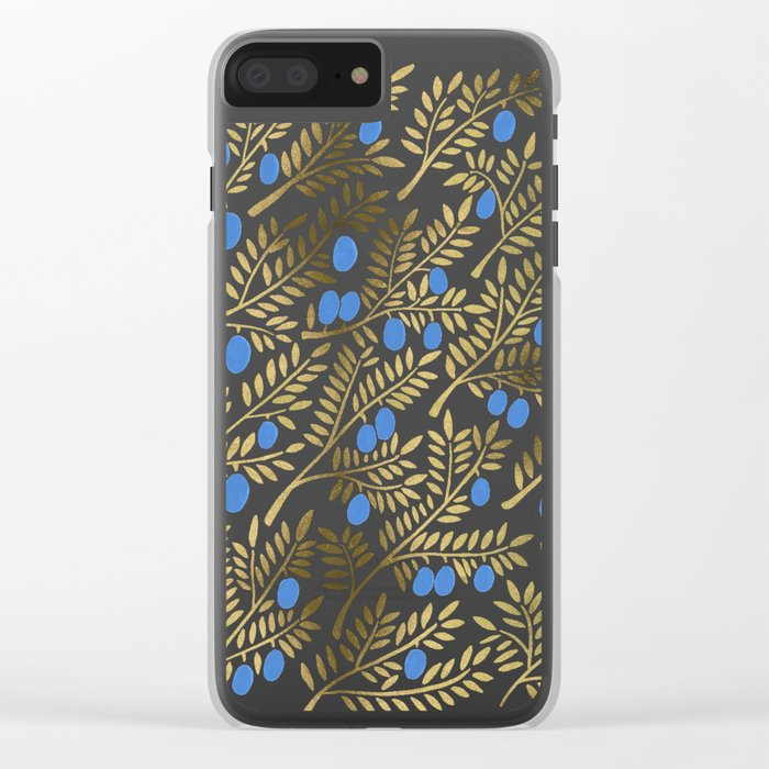 Olive Branches – Gold & Blue Clear iPhone Case
