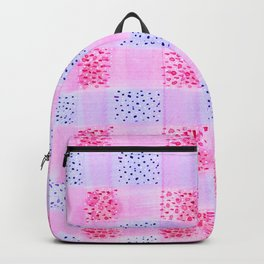 Plaid Pattern Watercolor In Pink And Blue Backpack