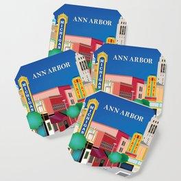 Ann Arbor, Michigan - Skyline Illustration by Loose Petals Coaster