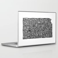 kansas Laptop & iPad Skins featuring Typographic Kansas by CAPow!
